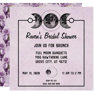 Purple Bridal Shower Skulls Roses Goth Wicca Invitation starting at 2.20