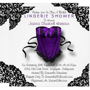 Purple Corset & Black Lace Lingerie Shower Invitation starting at 2.25