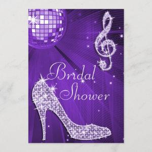 Purple Disco Ball and Sparkle Heels Bridal Shower Invitation starting at 2.77