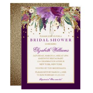 Purple Floral Amethyst Bridal Shower Invitation starting at 2.40