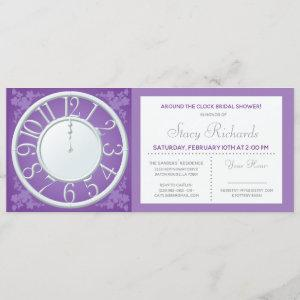 Purple Floral Around the Clock Shower Invite starting at 2.50