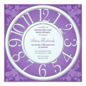 Purple Floral Around the Clock Shower Invite starting at 2.41