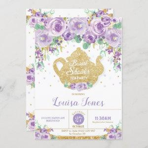 Purple Floral Bridal Shower Tea Party Invitation starting at 2.45