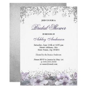 Purple Floral Glitter Bridal Shower Invitation starting at 2.10