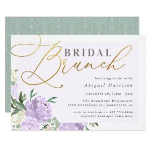 Purple Floral Gold Script Lavender Bridal Brunch Invitation starting at 2.45