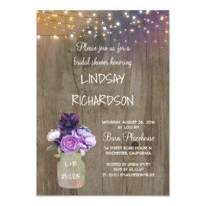 Purple Floral Mason Jar Rustic Barn Bridal Shower Invitation starting at 2.30