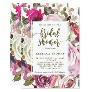 Purple floral modern bridal shower invitation starting at 2.51