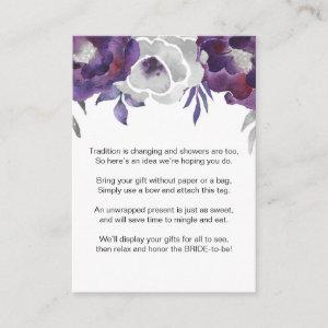 Purple Floral No Wrap Shower request tag 3963 Enclosure Card starting at 0.35