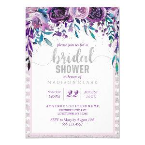 Purple Floral & Silver Bridal Shower Invitation starting at 2.55