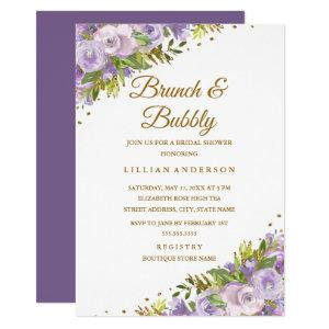 Purple Floral Watercolor Gold Brunch And Bubbly Invitation starting at 2.55