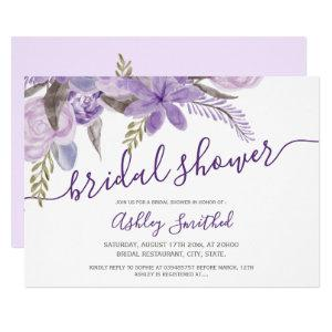 purple floral watercolor typography bridal shower invitation starting at 2.15