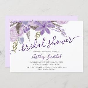 purple floral watercolor typography bridal shower invitation starting at 2.40