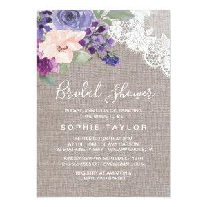 Purple Flowers and Lace Bridal Shower Invitation starting at 2.51