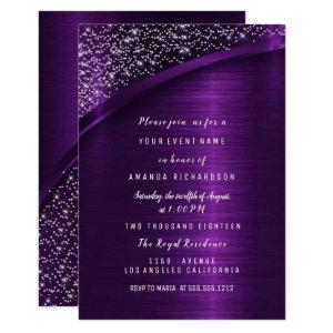 Purple Glitter Bridal Shower Birthday Sweet 16t Invitation starting at 1.95