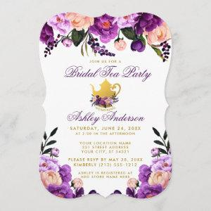 Purple Gold Bridal Shower Tea Party Invite B starting at 2.76