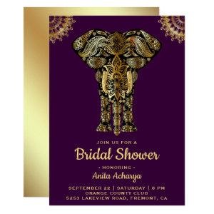 Purple Gold Elephant Indian Bridal Shower Invite starting at 2.45