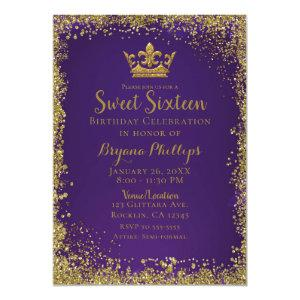 Purple & Gold Glitter Crown Sweet 16 Party Invitation starting at 2.66