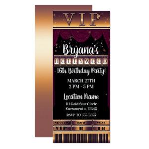 Purple Gold HOLLYWOOD Birthday Party VIP Ticket Invitation starting at 2.87
