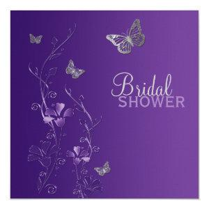 Purple Gray Floral Butterfly Bridal Shower Invite starting at 2.40