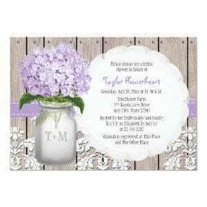 Purple Hydrangea Monogram Mason Jar Bridal Shower Invitation starting at 2.66