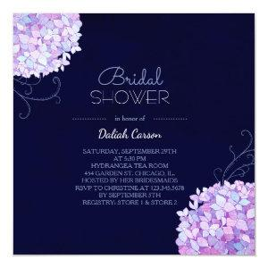 Purple Hydrangea Navy Blue Bridal Shower Invitation starting at 2.51
