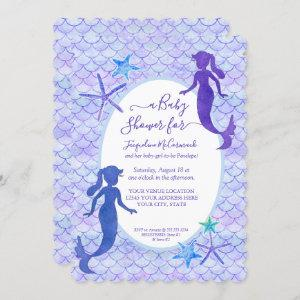 Purple Lavender Mermaid Scales Baby Girl Shower Invitation starting at 2.80