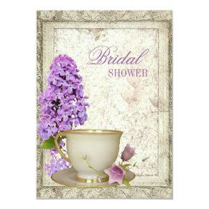 purple lilac Bridal Shower Tea Party Invitation starting at 2.42