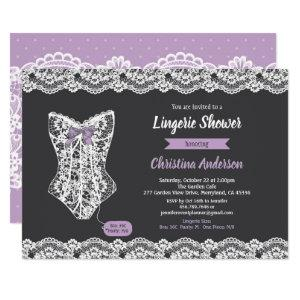 Purple lingerie shower invitation chalkboard lace starting at 2.40