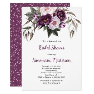 Purple Plum Pink Peonies Greenery Bridal Shower Invitation starting at 2.55