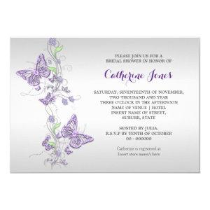 Purple silver butterfly swirl invitation starting at 2.70