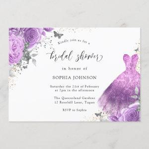 Purple Silver Dress & Rose Butterfly Bridal Shower Invitation starting at 2.55