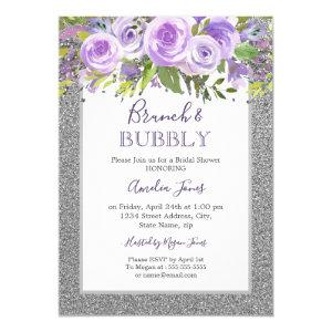 Purple Silver Floral Rose Brunch And Bubbly Shower Invitation starting at 2.55