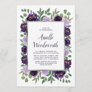 Purple Silver Floral Watercolor Plum Bridal Shower Invitation starting at 2.25