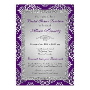 Purple, Silver Glitter Damask Bridal Shower Invite starting at 2.55