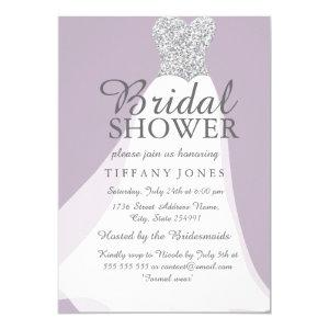 Purple Silver Glitter White Dress Bridal Shower Invitation starting at 2.55