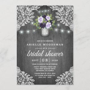 Purple Silver Gray Floral Rustic Bridal Shower Invitation starting at 2.25