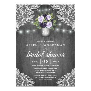 Purple Silver Gray Floral Rustic Bridal Shower Invitation starting at 2.00