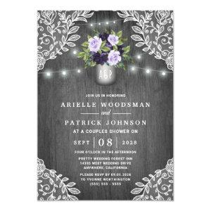 Purple Silver Gray Floral Rustic Couples Shower Invitation starting at 2.25