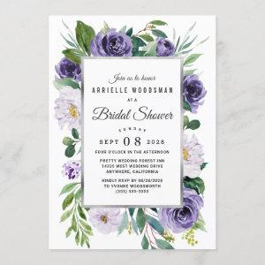 Purple Silver Gray Watercolor Floral Bridal Shower Invitation starting at 2.25