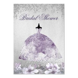 Purple Silver Sparkle Dress Bridal Shower Invite starting at 2.10