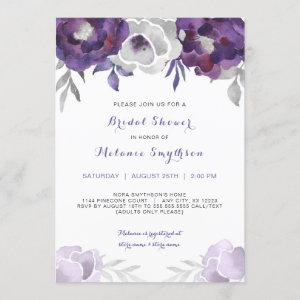 Purple Silver Watercolor Floral bridal shower 3963 Invitation starting at 2.40