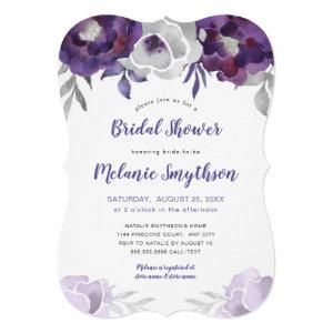 Purple Silver Watercolor Floral bridal shower Invitation starting at 2.65