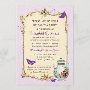 Purple Vintage French Bridal Tea Party Invitation starting at 2.51