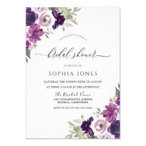 Purple Violet Watercolor Flowers Bridal Shower Invitation starting at 2.40