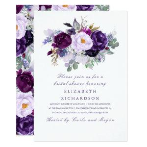 Purple Watercolor Flowers Romantic Bridal Shower Invitation starting at 2.40