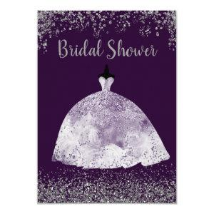Purple Wedding Dress Silver Glitter Bridal Shower Invitation starting at 2.20