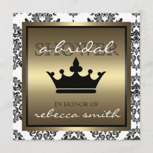 Queen Bridal Shower Invitation - Black and Gold starting at 2.41