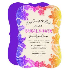 Rainbow Hibiscus Tropical Bridal Shower Invitation starting at 2.80