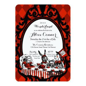 Red Alice in Wonderland Shower Invitations starting at 3.18