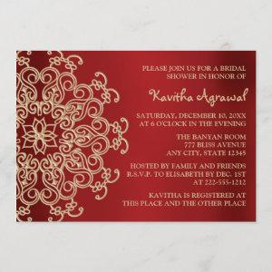 Red and Gold Indian Inspired Bridal Shower Invitation starting at 2.66